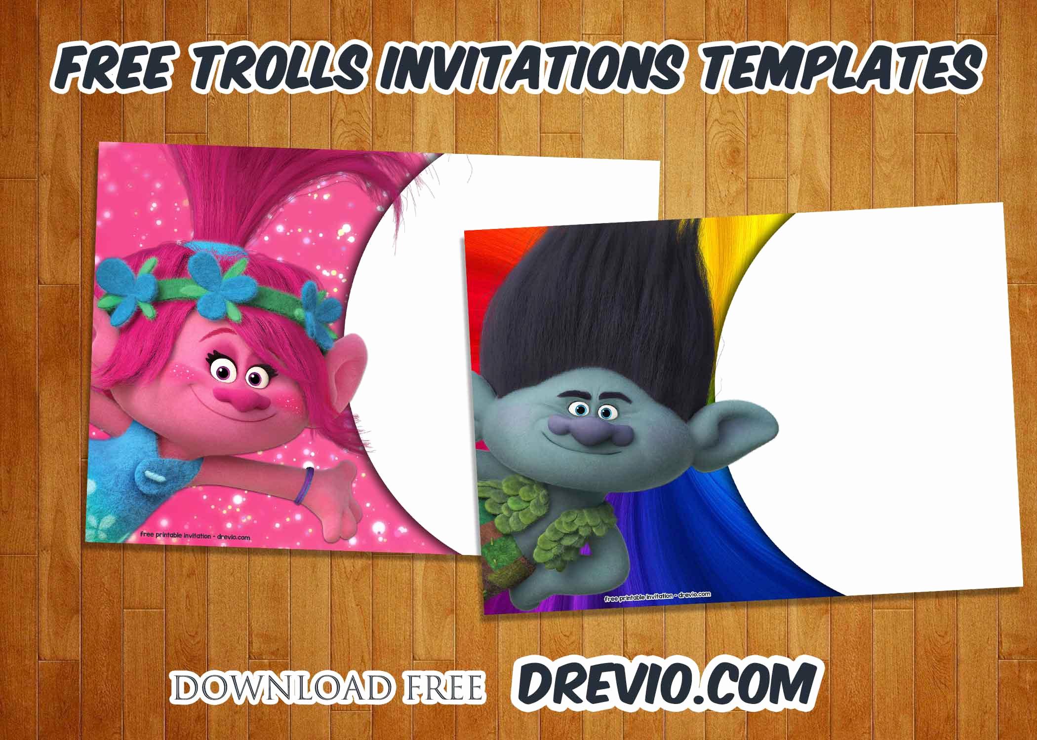 Trolls Invitation Template Free Luxury Free Trolls Birthday Invitations Templates