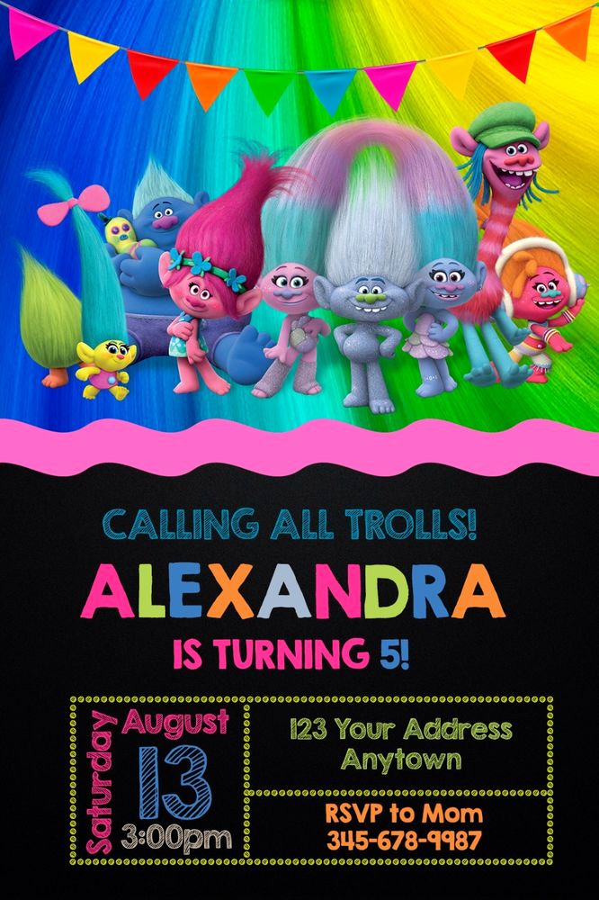 Trolls Invitation Template Free Luxury Trolls Birthday Party Invitations Personalized You Print