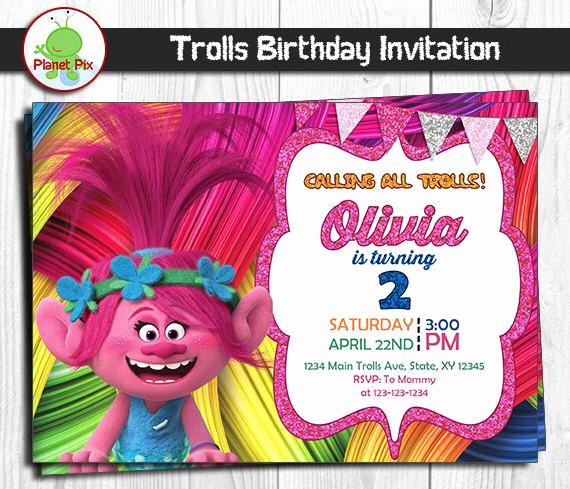 Trolls Invitation Template Free Luxury Trolls Movie Birthday Invitation Trolls Poppy Birthday
