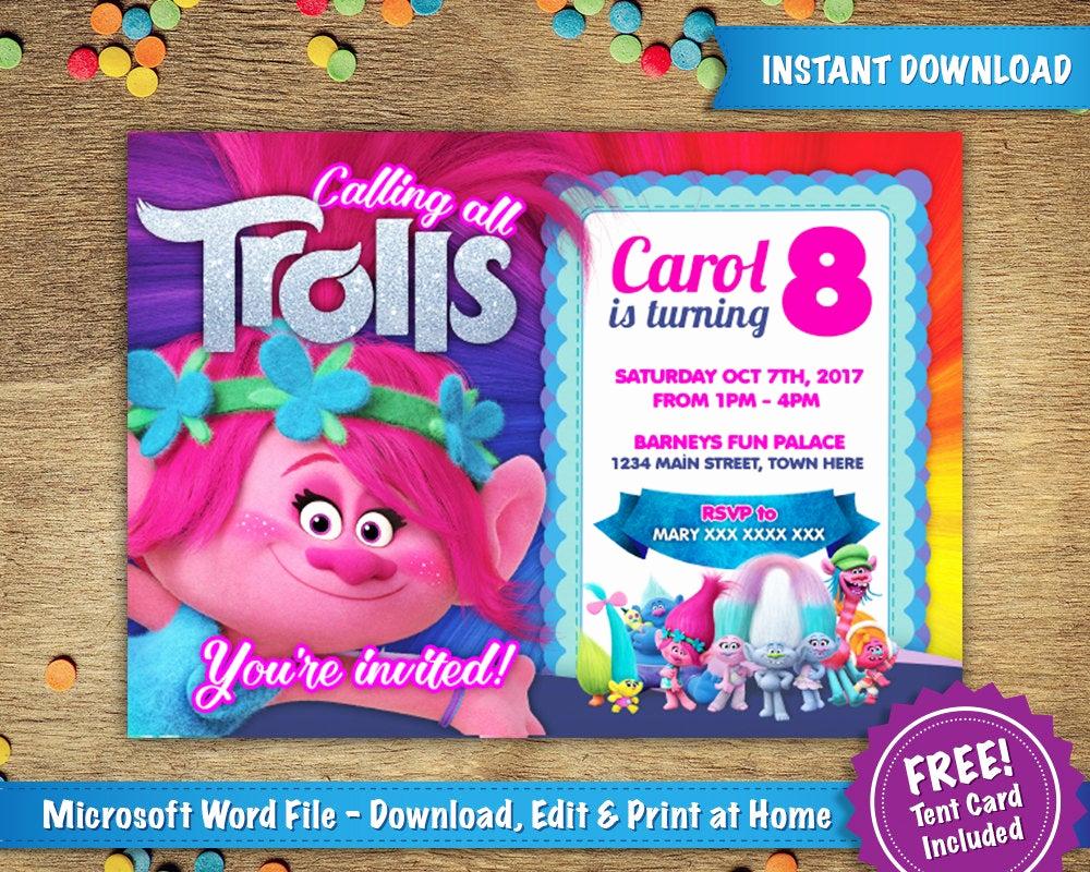 Trolls Invitation Template Free Unique Diy Printable 5x7 Trolls Poppy Birthday Party Invitation