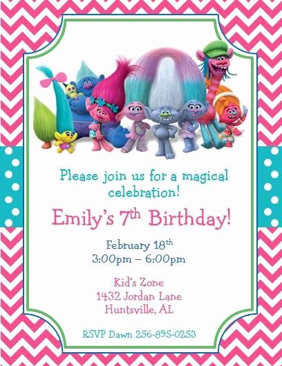Trolls Invitation Template Free Unique Trolls Party Printed Invitations 2