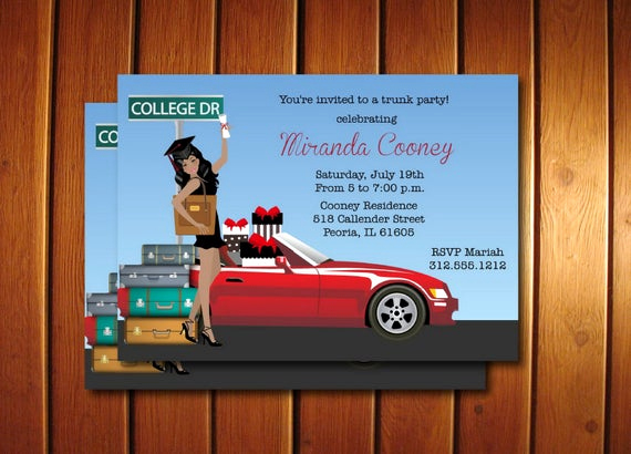 Trunk Party Invitation Templates Awesome Graduation Trunk Party Invitations Printable Graduation