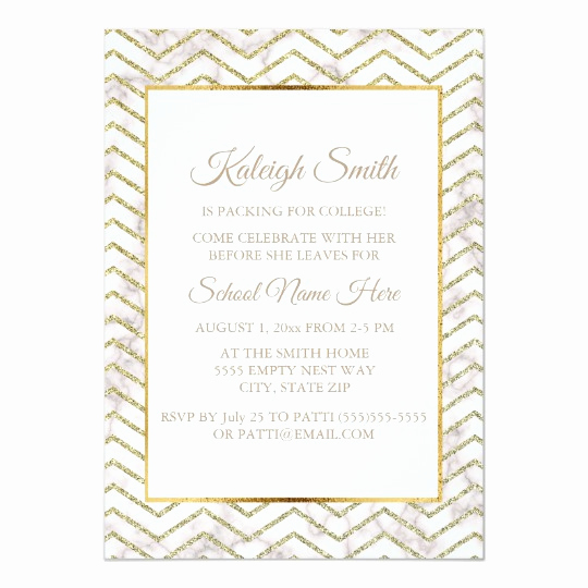 "Trunk Party Invitation Templates Beautiful Gold and White Trunk Party "" F to College"" Invite"