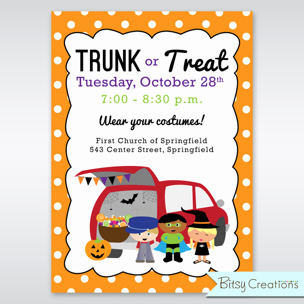 Trunk Party Invitation Templates Beautiful Trunk or Treat Printable Invitation Digital Printable