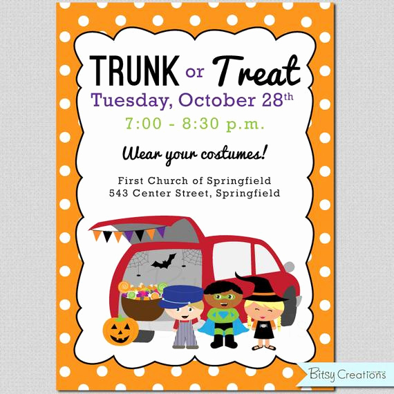 Trunk Party Invitation Templates Best Of Trunk or Treat Printable Invitation Digital by Bitsycreations