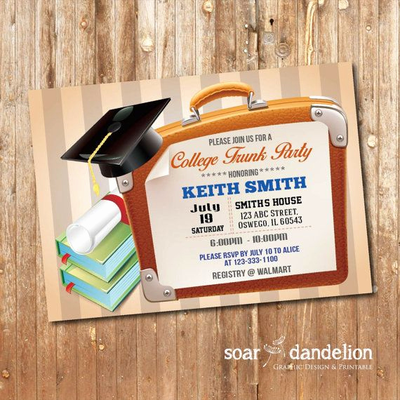 Trunk Party Invitation Templates Lovely Trunk Party Invitation Graduation Party Gp004 by