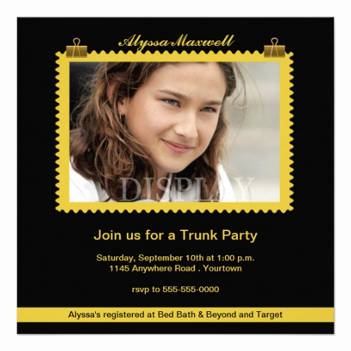 "Trunk Party Invitation Templates Luxury Trunk Party Gold and Black Invitation 5 25"" Square"