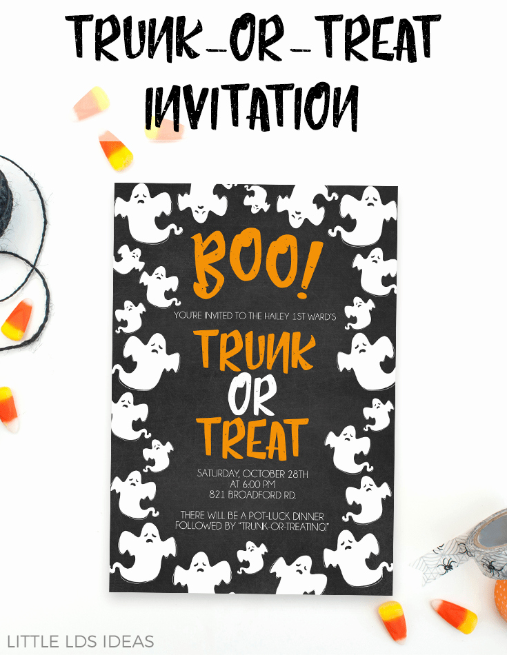 Trunk Party Invitation Templates New Trunk Treat Invitation Printable From Little Lds Ideas