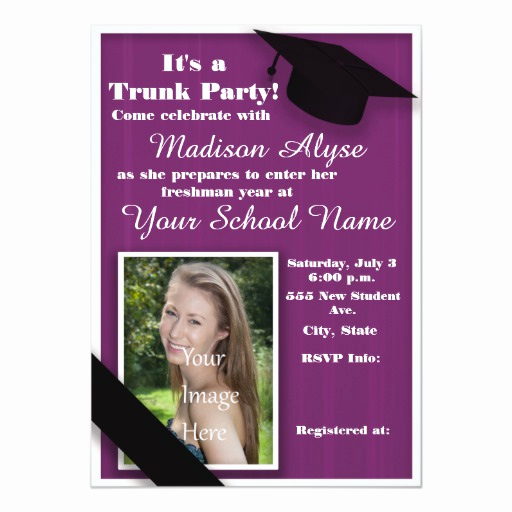 Trunk Party Invitation Templates Unique Purple Trunk College Party 5x7 Paper Invitation Card