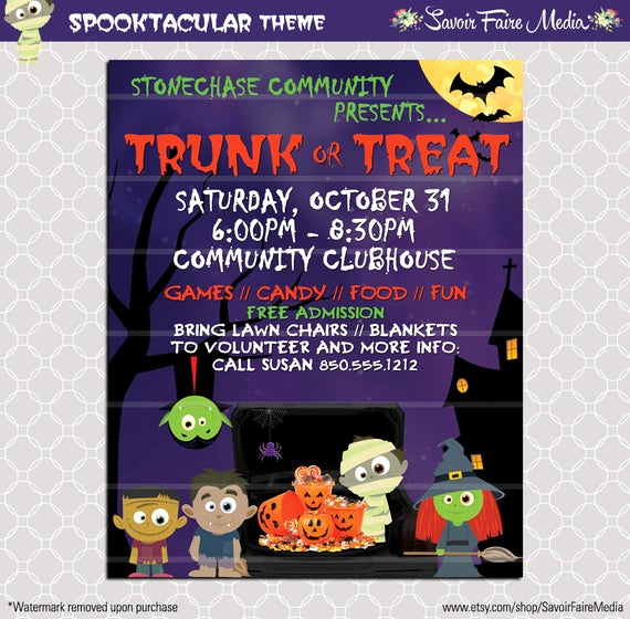 Trunk Party Invitation Templates Unique Trunk or Treat Flyer Invitation Poster Halloween Template