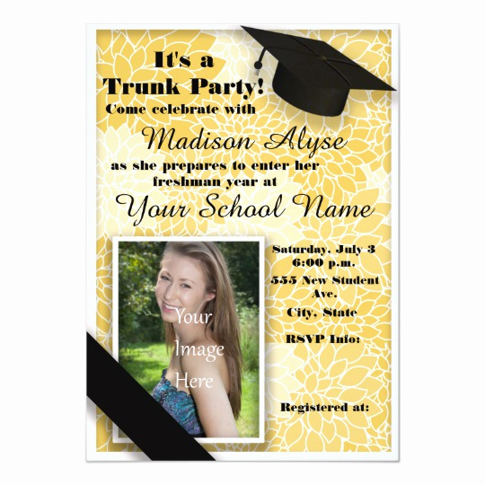 Trunk Party Invitation Wording Awesome Yellow Black Floral Trunk College Party Invitation