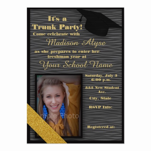 Trunk Party Invitation Wording Beautiful Black and Gold Trunk College Party Card