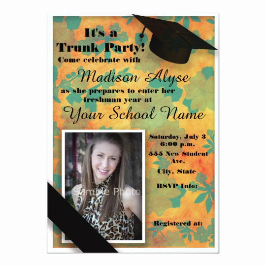 Trunk Party Invitation Wording Beautiful orange Teal Floral Trunk College Party Card