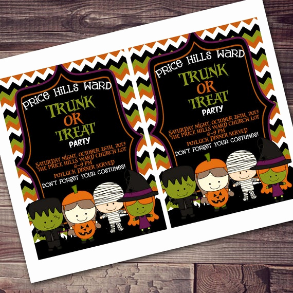Trunk Party Invitation Wording Elegant Items Similar to Trunk or Treat Neighborhood Ward Party