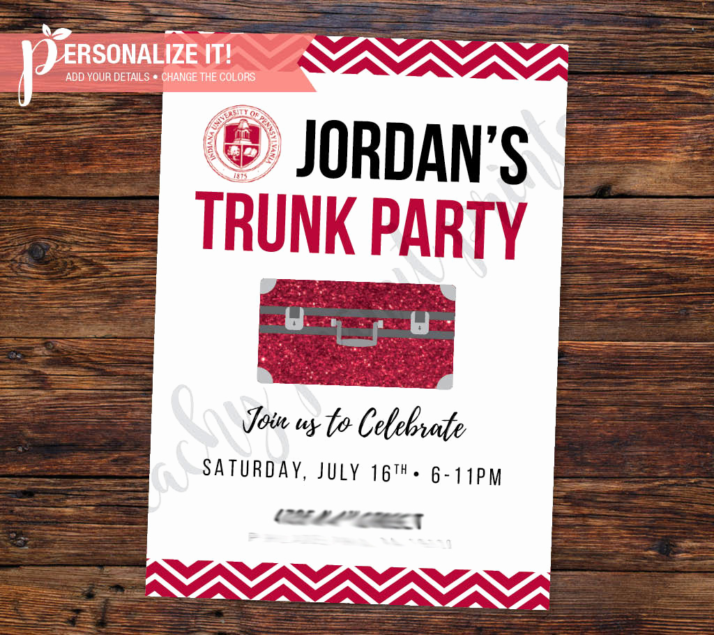 Trunk Party Invitation Wording Elegant Trunk Party Invitation Going Away College by