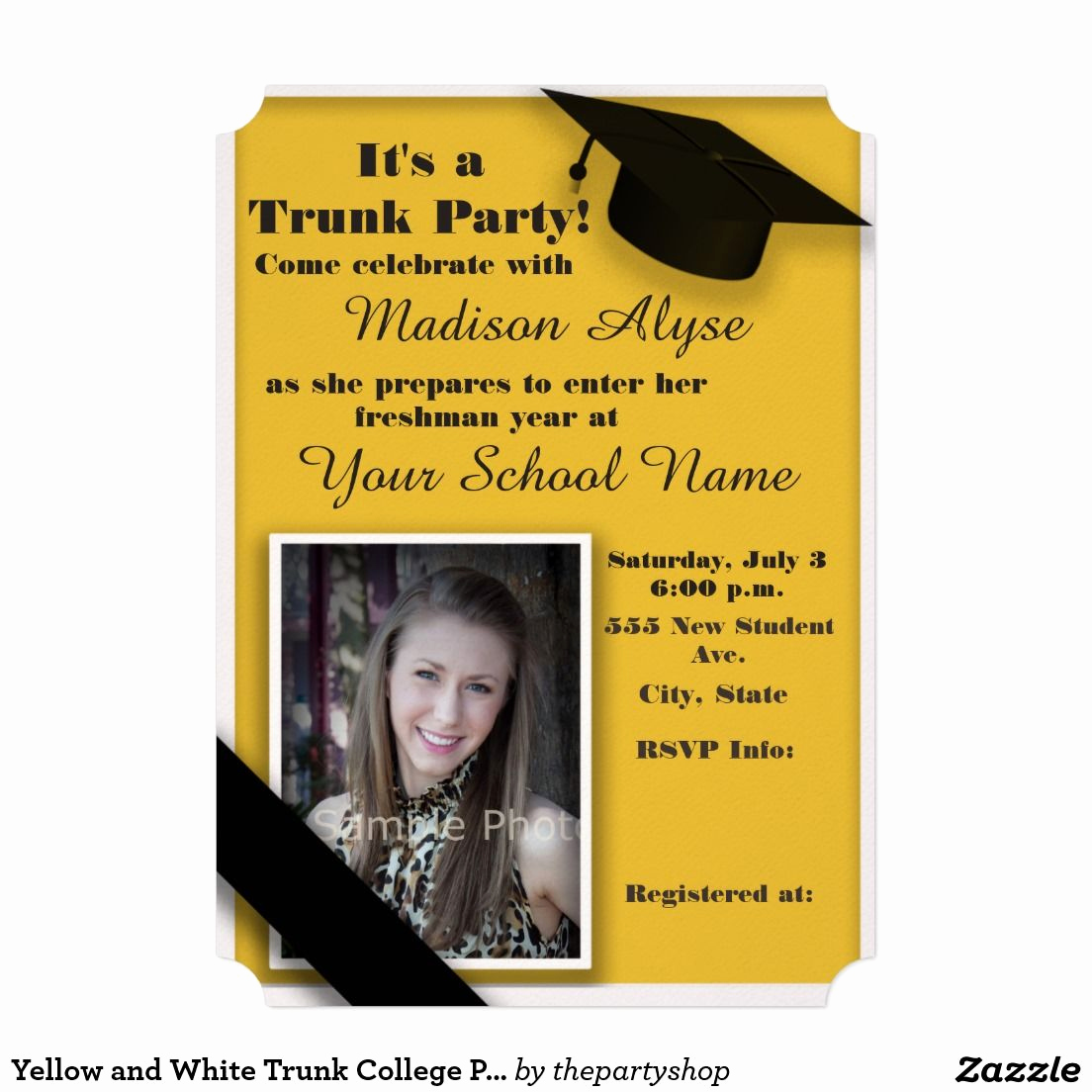 Trunk Party Invitation Wording Elegant Yellow and White Trunk College Party Invitation