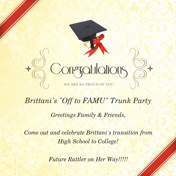 "Trunk Party Invitation Wording Fresh Brittani Smith S "" F to Famu"" Trunk Party Line"