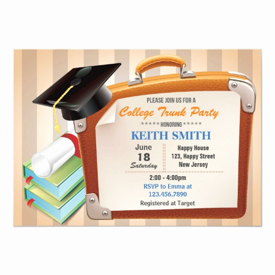 Trunk Party Invitation Wording Inspirational College Trunk Party Invitation Graduation Party Card