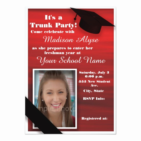 Trunk Party Invitation Wording Inspirational Red Black White Trunk College Party Card