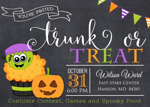 Trunk Party Invitation Wording Luxury Trunk or Treat Halloween Invitation Ward Party Invitation