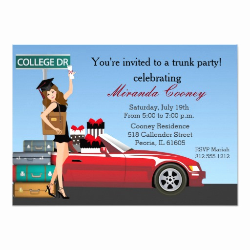 "Trunk Party Invitation Wording New Graduation Trunk Party Brunette College Going Away 5"" X 7"