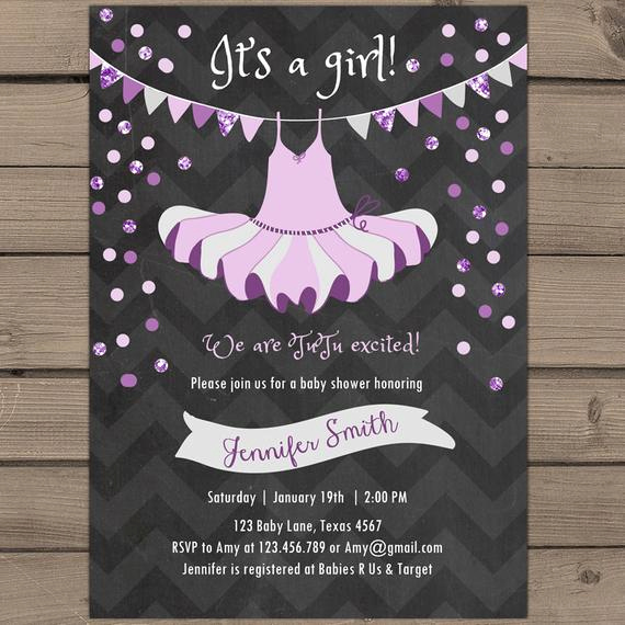 Tutu Baby Shower Invitation Beautiful Items Similar to Tutu Baby Shower Invitation Purple Silver