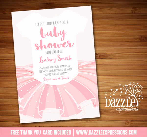 Tutu Baby Shower Invitation Beautiful Printable Ballerina Tutu Esie Baby sower Invitation
