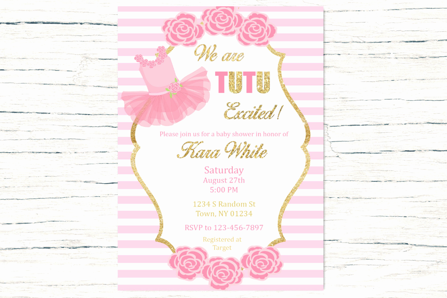 Tutu Baby Shower Invitation Beautiful Tutu Excited Baby Shower Invitation Pink and Gold Baby