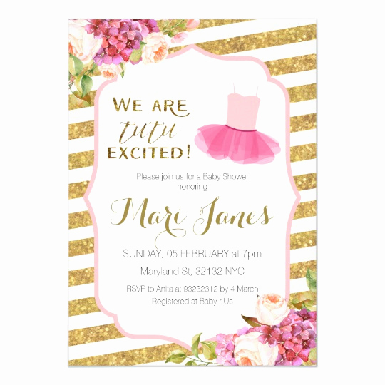 Tutu Baby Shower Invitation Best Of Pink Gold Striped Tutu Baby Shower Invitation
