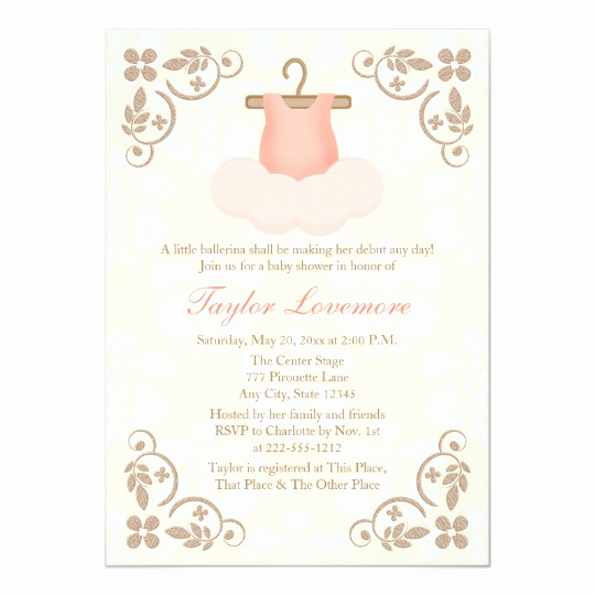 Tutu Baby Shower Invitation Fresh Fancy Ballerina Tutu Baby Shower Invitation