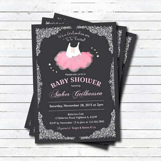 Tutu Baby Shower Invitation Lovely Baby Girl Ballerina Tutu