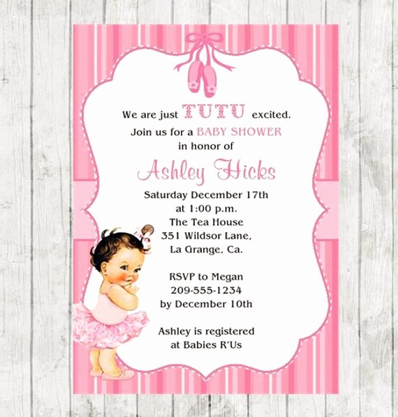 Tutu Baby Shower Invitation Lovely Tutu Baby Shower Invitation Pink Tutu 10 Printed