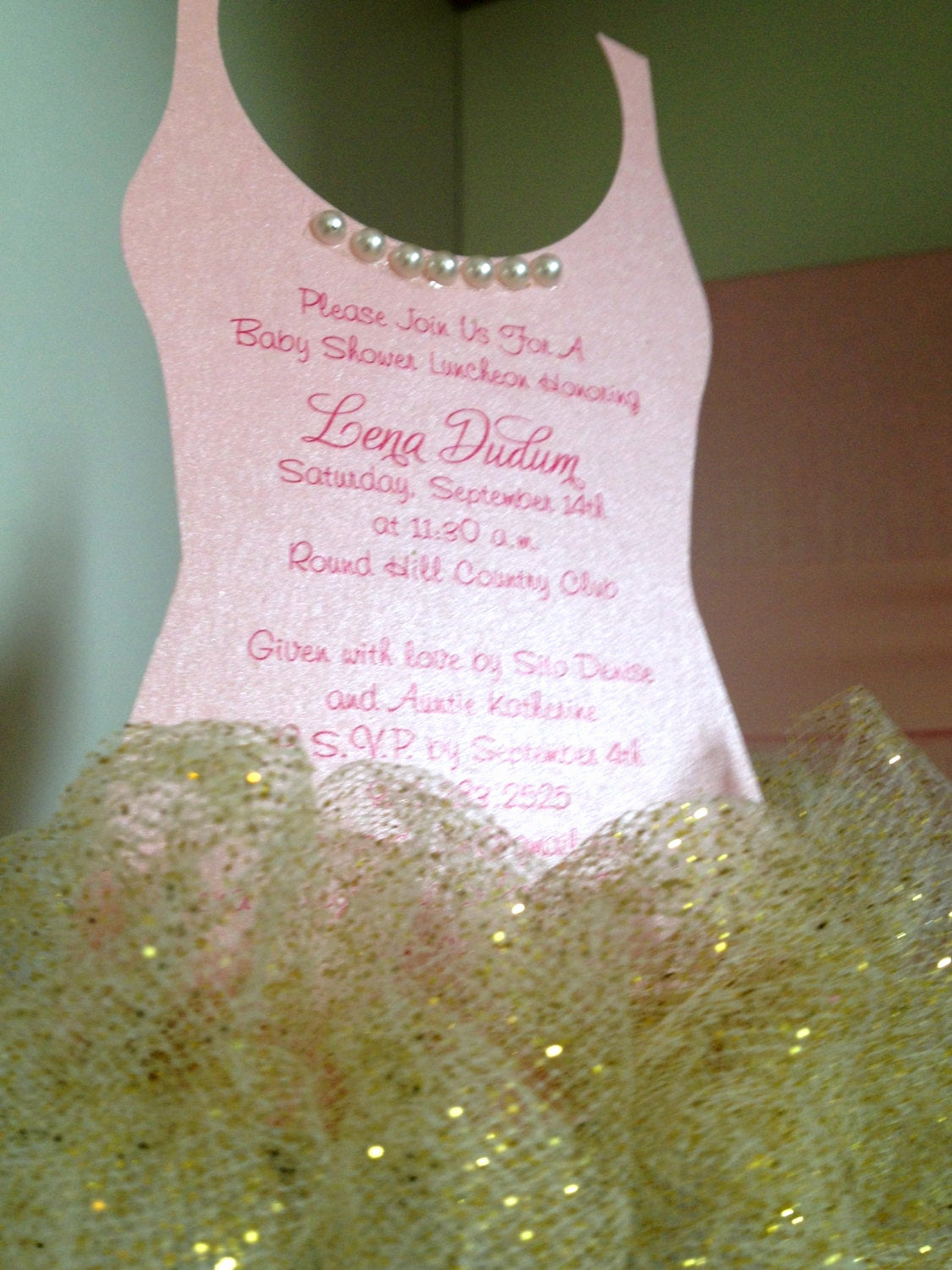 tutu baby shower invitation gold