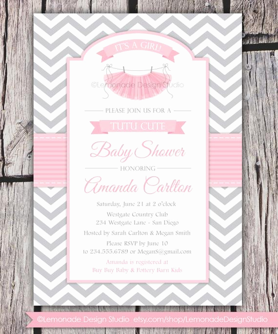 Tutu Baby Shower Invitation Wording Awesome Tutu Cute Baby Shower Invitation Chevron Pink Grey Girl