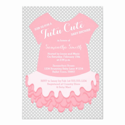 Tutu Baby Shower Invitation Wording Awesome Tutu Cute Baby Shower Invitation Pink and Grey