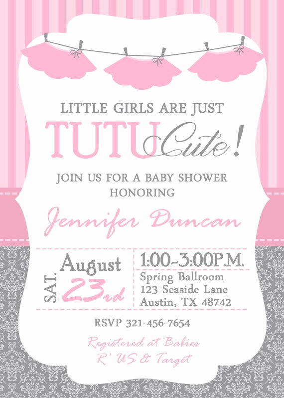 Tutu Baby Shower Invitation Wording Best Of Tutu Baby Shower Invitation Me