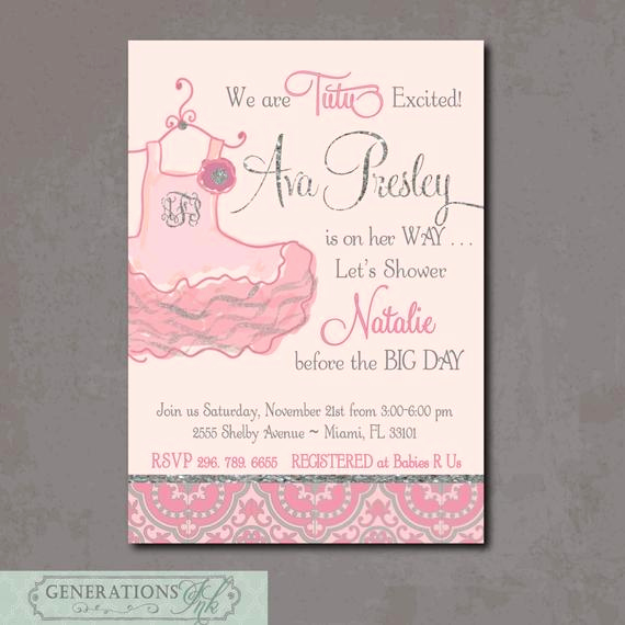 Tutu Baby Shower Invitation Wording Elegant Adorable Baby Shower Invitation Tutu Excited