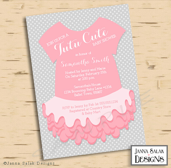 Tutu Baby Shower Invitation Wording Elegant Baby Girl Ballerina Tutu