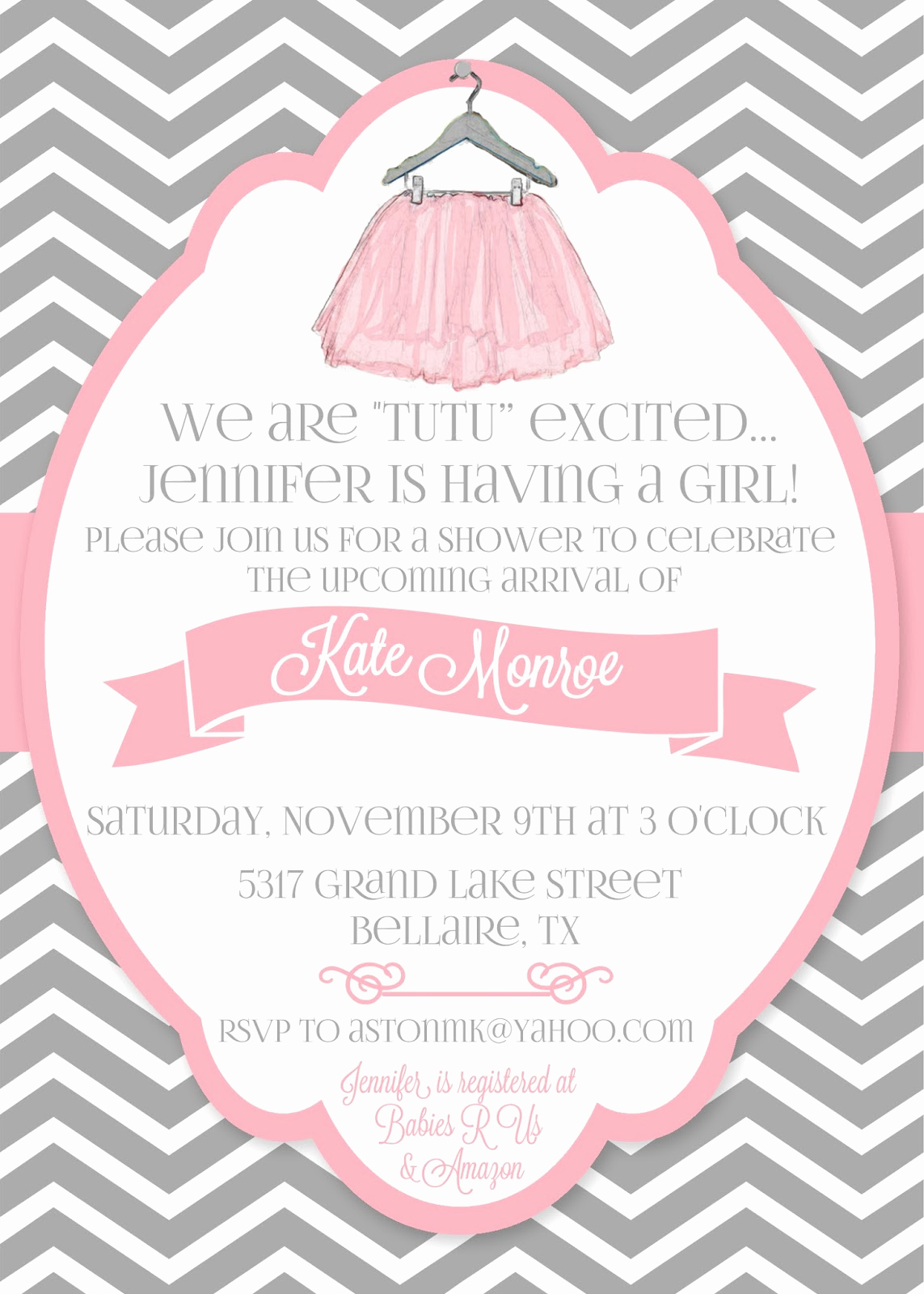 "Tutu Baby Shower Invitation Wording Elegant Daily Dimples ""tutu"" Cute Baby Shower"