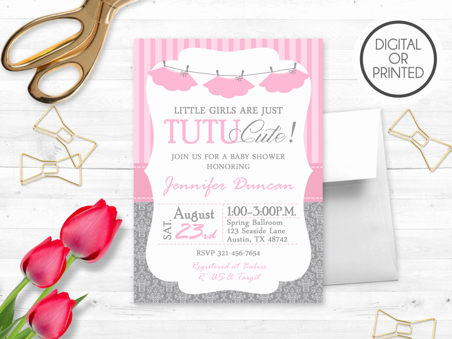 Tutu Baby Shower Invitation Wording Elegant Tutu Baby Shower Invitation Ballerina Baby by