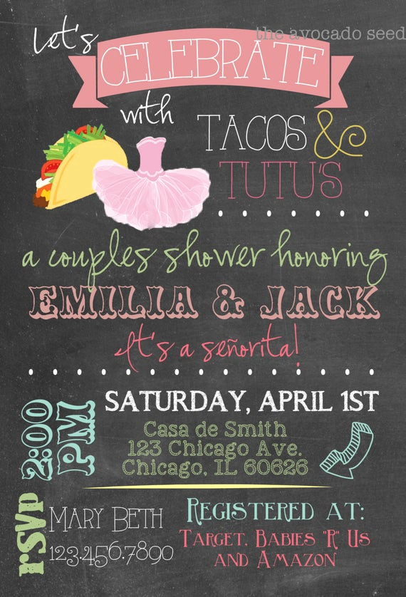 Tutu Baby Shower Invitation Wording Inspirational Adorable Taco S & Tutu S Baby Shower Invitation Diy
