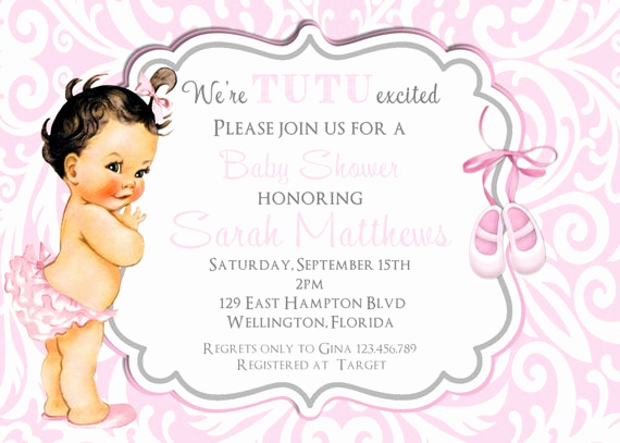 Tutu Baby Shower Invitation Wording Inspirational Tutu Cute Vintage Shabby Baby Shower Invitation Ballerina