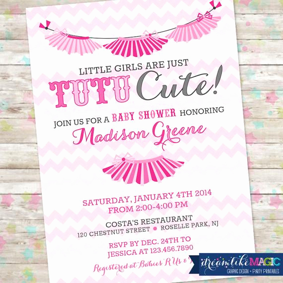 Tutu Baby Shower Invitation Wording Luxury Tutu Baby Shower Invitation Baby Girl Invite Tutu Cute Baby