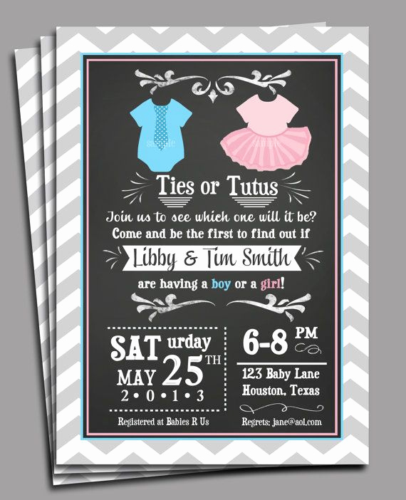 Twin Baby Shower Invitation Ideas Awesome Ties or Tutus Gender Reveal Invitation Printable or