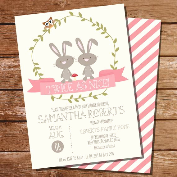Twin Baby Shower Invitation Ideas Awesome Twin Bunny Baby Shower Invitation for Twin Girls Instant