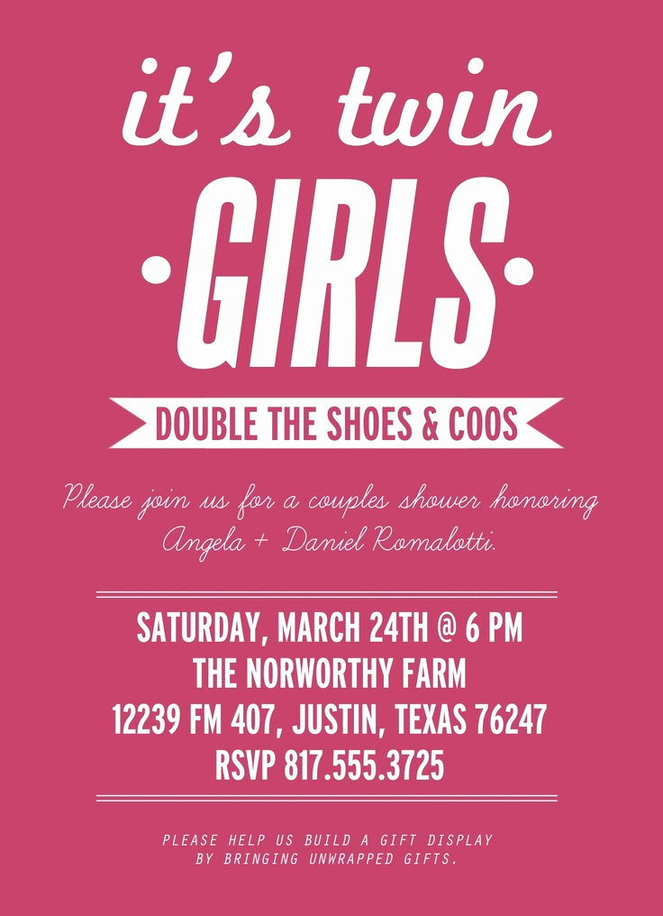 Twin Baby Shower Invitation Ideas Awesome Wording Ideas for Invites Baby Shower Twin Girls