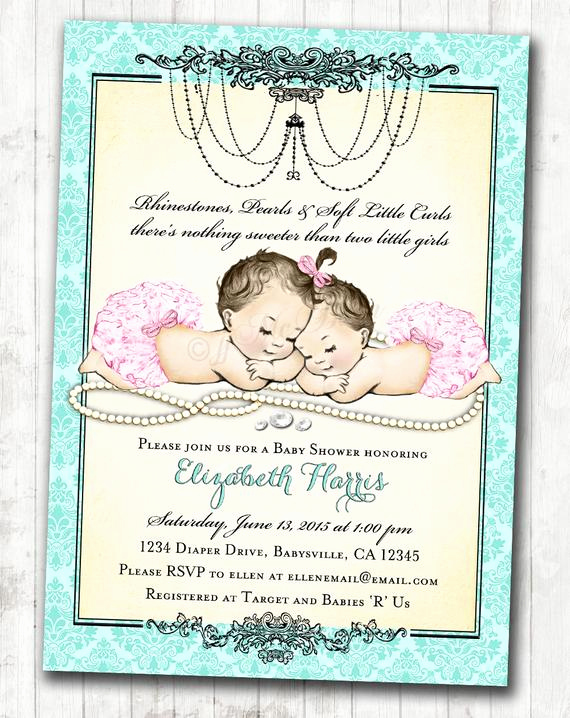 Twin Baby Shower Invitation Ideas Elegant Twin Girls Baby Shower Invitation for Baby Girls Pink & Aqua