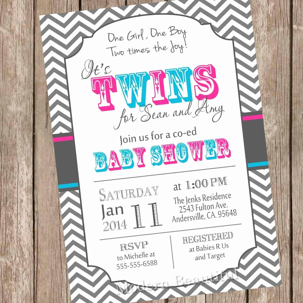 Twin Baby Shower Invitation Ideas Elegant Twins Baby Shower Invitation Twin Girl Twin Boy Boy and