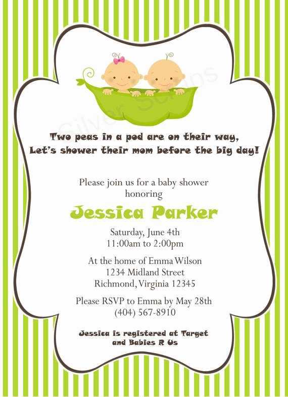 Twin Baby Shower Invitation Ideas Luxury Items Similar to Two Peas In A Pod Custom Baby Shower