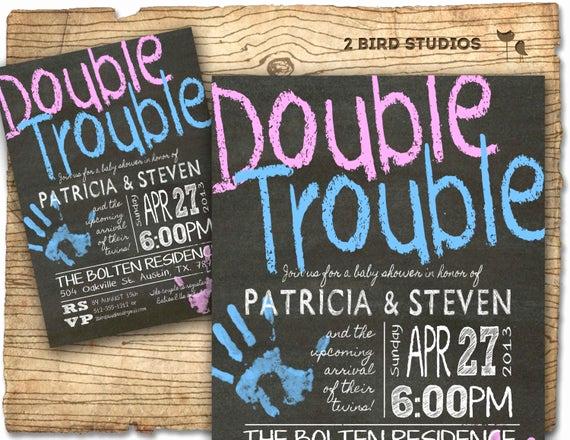 Twin Baby Shower Invitation Ideas New Twins Baby Shower Invitation Twins Double Trouble Baby